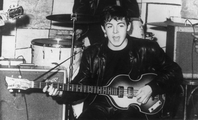 Paul McCartney on stage at the Cavern nightclub in Liverpool during the early days of British beat group The Beatles
