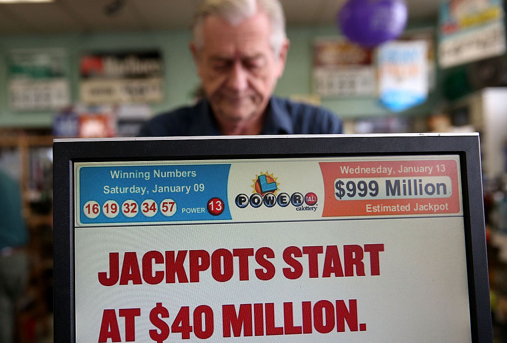 Computer screen shows Powerball lottery information