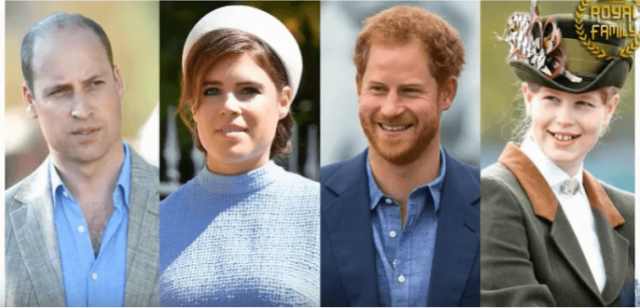 Prince William, Princess Eugenie, Prince Harry and Lady Louise Windsor