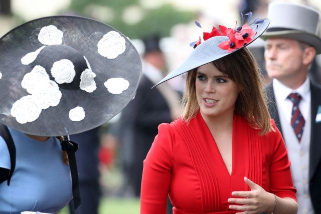Princess Eugenie of York (R) and Princess Beatrice of York (L) are seen in the Parade Ring as she attends Royal Ascot 2017