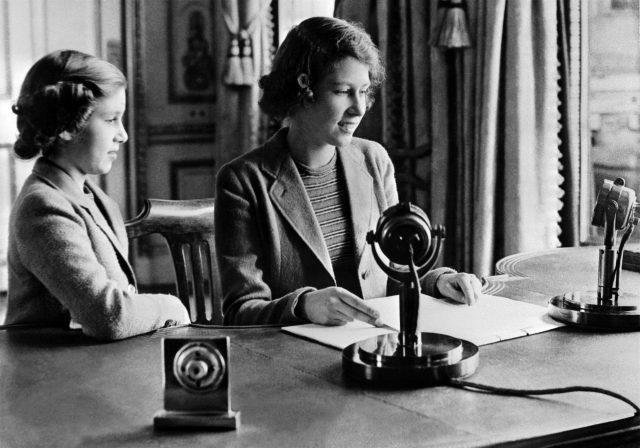Princess Margaret and Princess Elizabeth sending a message during the BBC's children programme