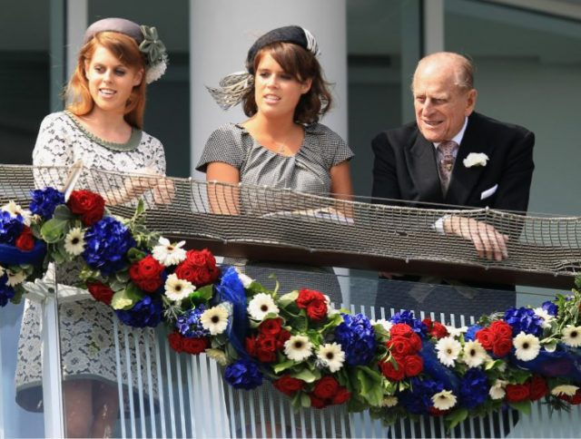 Princess Beatrice, Princess Eugenie, and Prince Philip