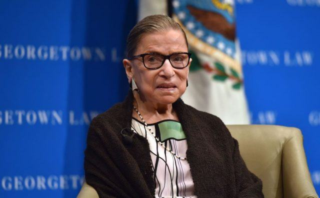 US Supreme Court Justice Ruth Bader Ginsburg looks on as she speaks to first year Georgetown University law students in Washington, DC on September 20, 2017