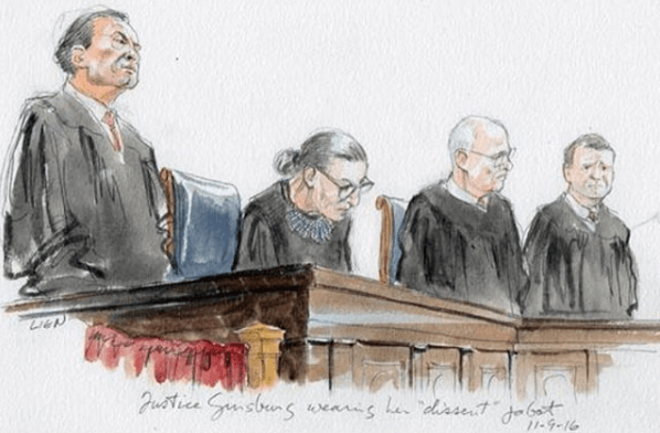 RBG in Courtroom by Art Lien