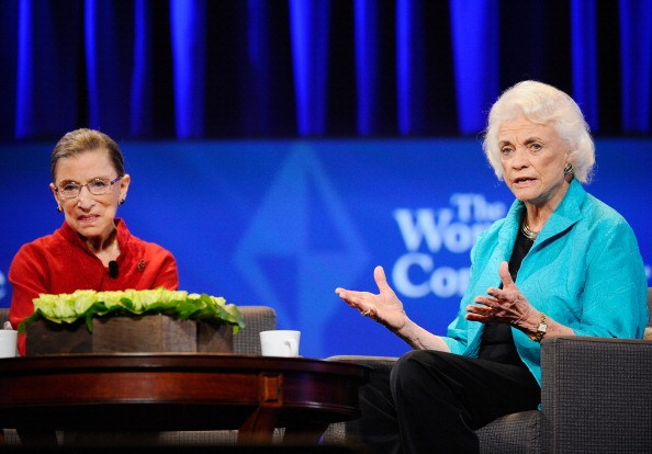 Justice Ruth Bader Ginsburg (L) and former justice Sandra Day O'Connor attend California first lady Maria Shriver's annual Women's Conference 2010