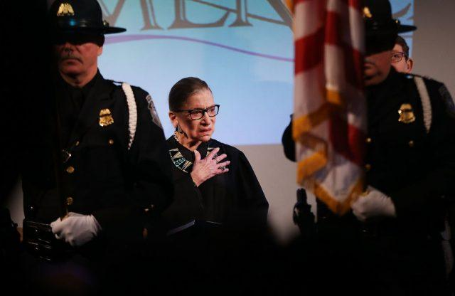 U.S. Supreme Court Justice Ruth Bader Ginsburg prepares to administer the Oath of Allegiance to candidates for U.S. citizenship