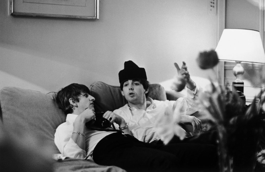 Ringo Starr and Paul McCartney in a Paris hotel room