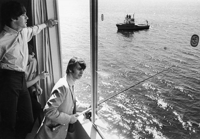 Ringo Starr fishes from The Beatles' Seattle hotel room