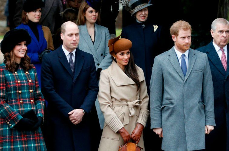 Duchess Kate Middleton, Prince William, Duchess Meghan Markle, Prince Harry celebrating Christmas.