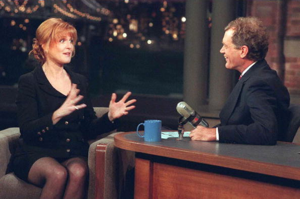 Sarah Ferguson, the Dutchess of York, gestures while appearing with David Letterman