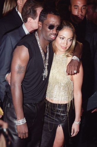 Sean Combs and Jennifer Lopez arrive for the arrive for the MTV Video Music Awards in 1999