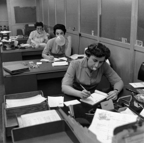 Secretaries in the office of Topps Chewing Gum Factory in Brooklyn
