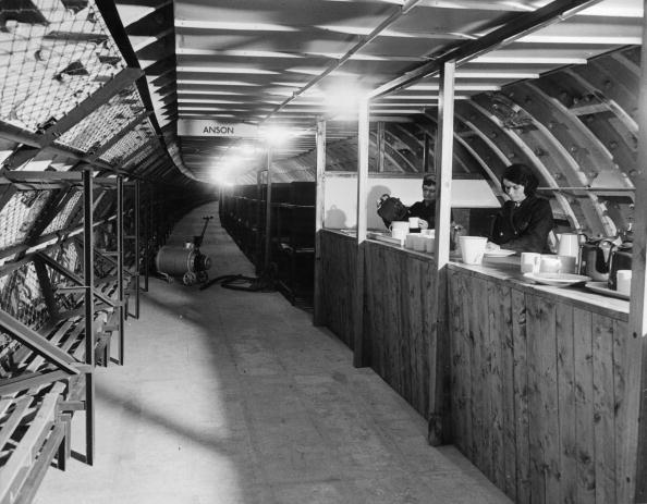 1942: The canteen area inside one of London's hush-hush deep bomb shelters between Balham Hill and South Lambeth