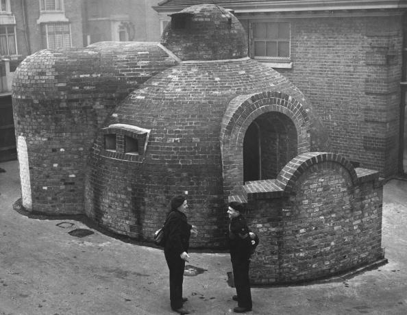 An igloo-shaped blast proof building