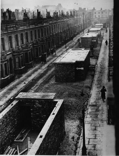 Air raid shelters in the middle of a London street