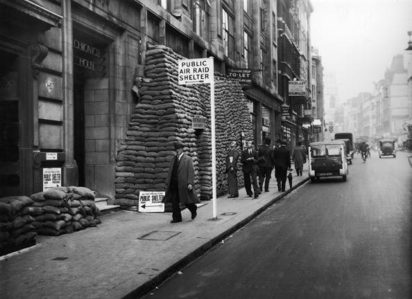 Chronicle House in Fleet Street, London, marked for use as a public air raid shelter during World War II.