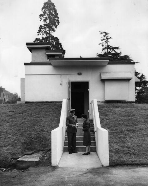 The blast and air-proof entrance to the underground headquarters of the Royal Observer Corps, specially constructed to be used in the event of nuclear war
