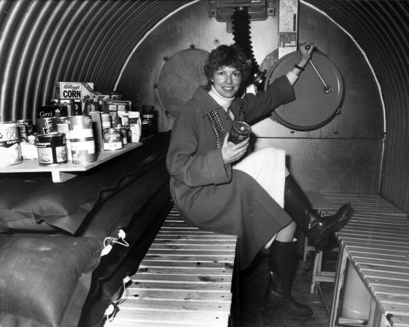 A woman in one of the government-approved nuclear shelters in York