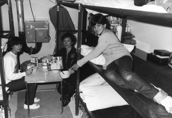 1980: Phyllis Millet and her daughters Roberta and Katie (right) having breakfast in their underground nuclear shelter during a five day trial.