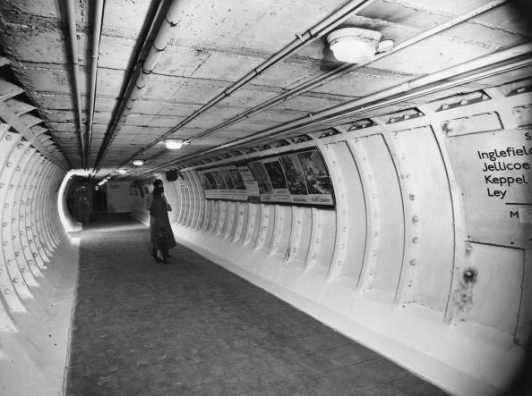 One of the main tunnels at Clapham Deep Shelter used to accommodate visitors to the Festival of Britain. The shelter can take 4000 people, is served by limited lift facilities, with electric light and ventilation