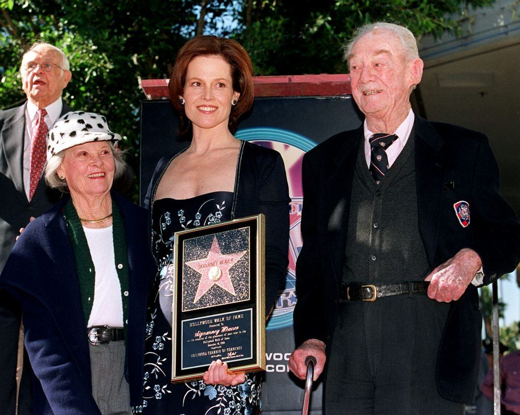 Sigourney Weaver with her mother and father