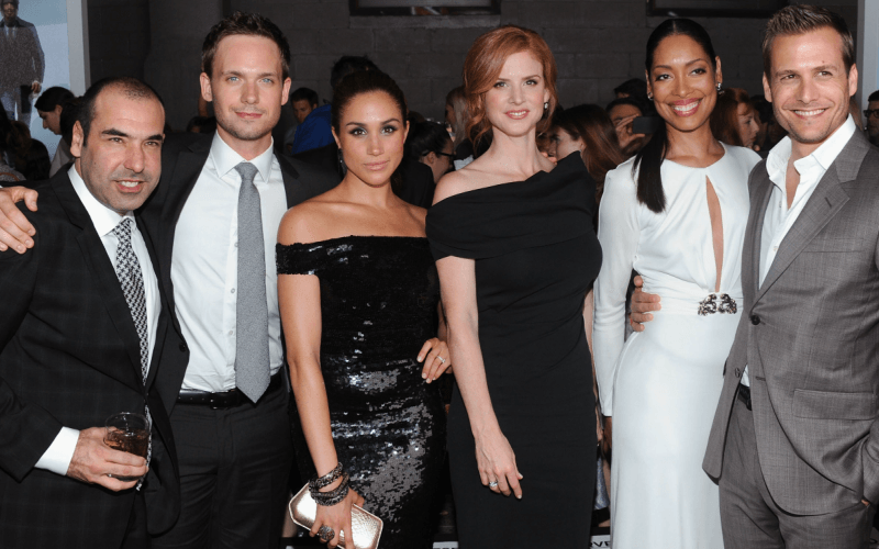 Rick Hoffman, Patrick J. Adams, Meghan Markle, Sarah Rafferty, Gina Torres and Gabriel Macht of Suits
