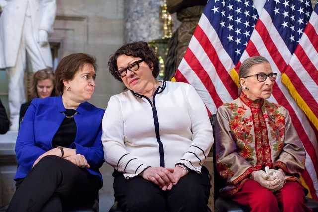 Supreme Court justices Elena Kagan, Sonia Sotomayor and Ruth Bader Ginsburg, participate in an annual Women's History Month reception