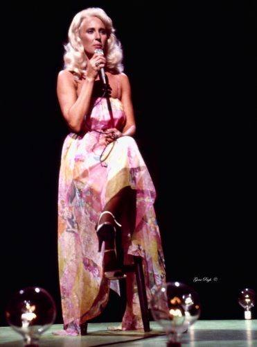 Tammy Wynette singing prior to the taping of The Johnny Cash Show in Nashville, Tennessee in 1977.