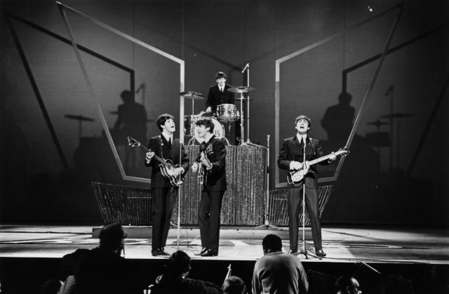 The Beatles on stage at the London Palladium