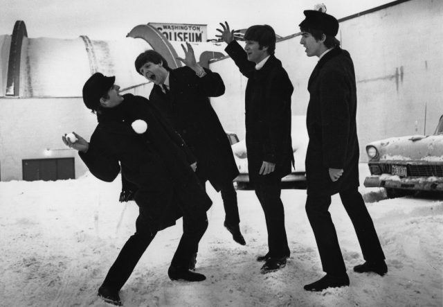 The Beatles soon after their arrival in Washington