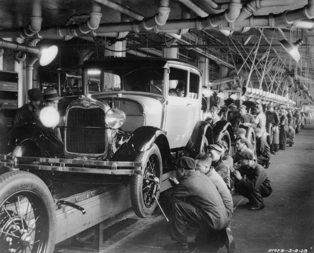 The production line at a Ford factory in 1927
