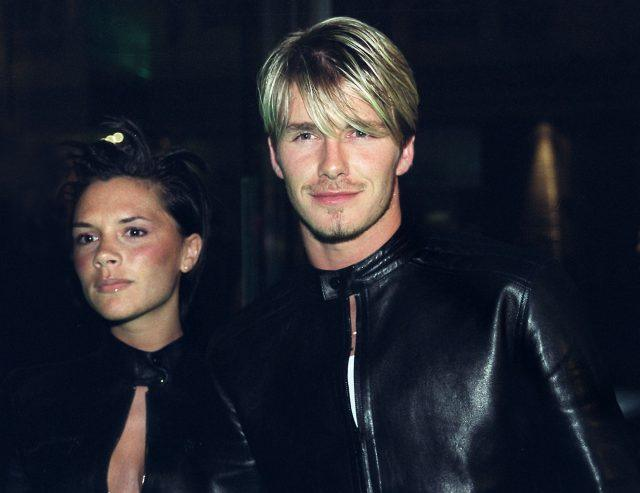 Victoria Adams and David Beckham arrive at a reception hosted by Donatella Versace in 1999