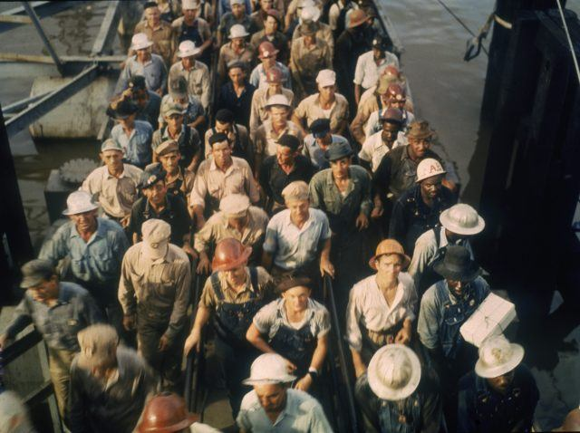 Workers leave the Pennsylvania shipyards in Beaumont, Texas