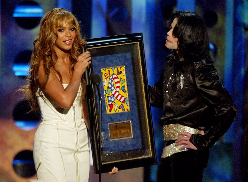 Michael Jackson on stage with Beyonce