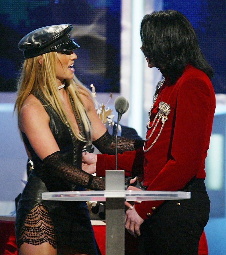 Michael Jackson on stage with Britney Spears