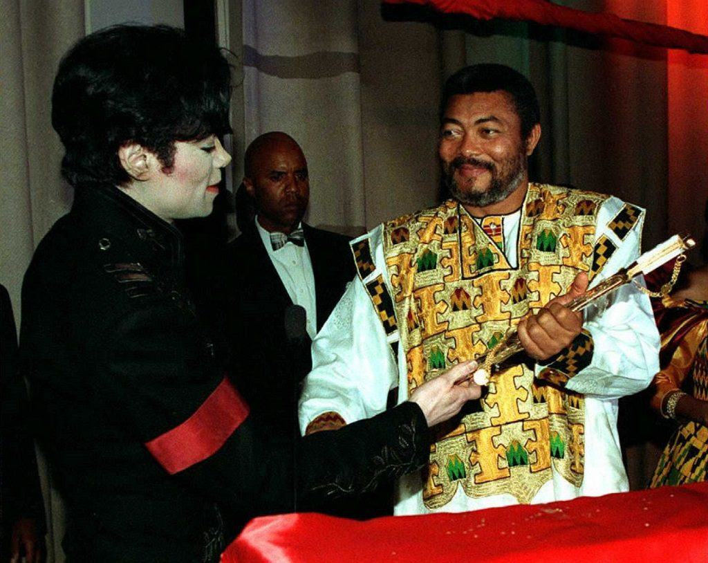 Michael Jackson with Jerry Rawlings, President of the West African nation of Ghana