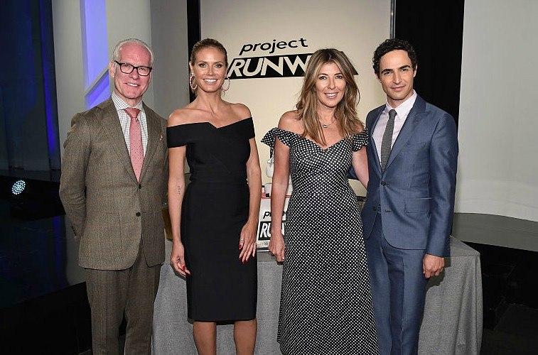 Tim Gunn, Heidi Klum, Nina Garcia, and Zac Posen celebrating Project Runway