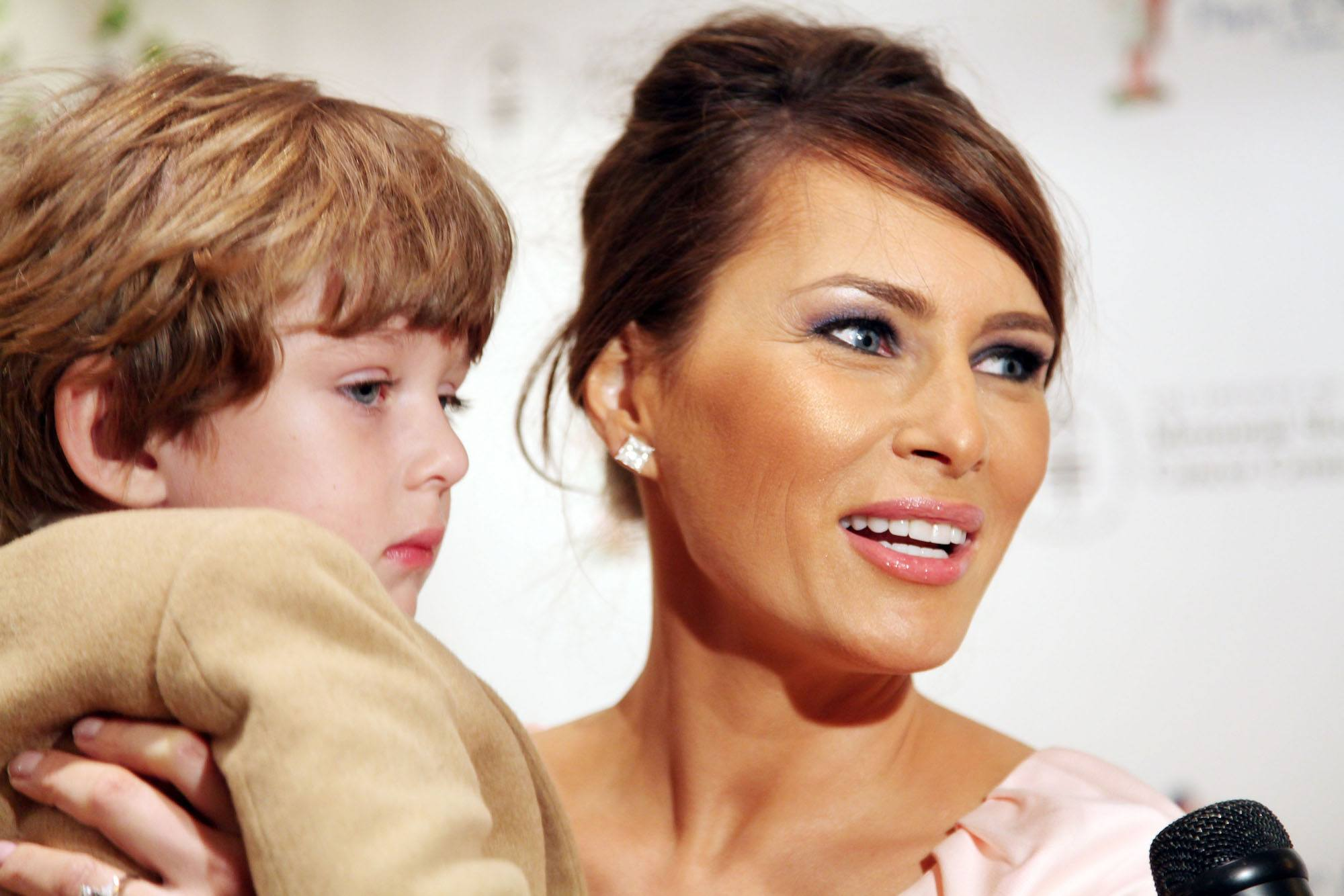 Barron Trump and Melania Trump attend the 18th annual Bunny Hop in 2009