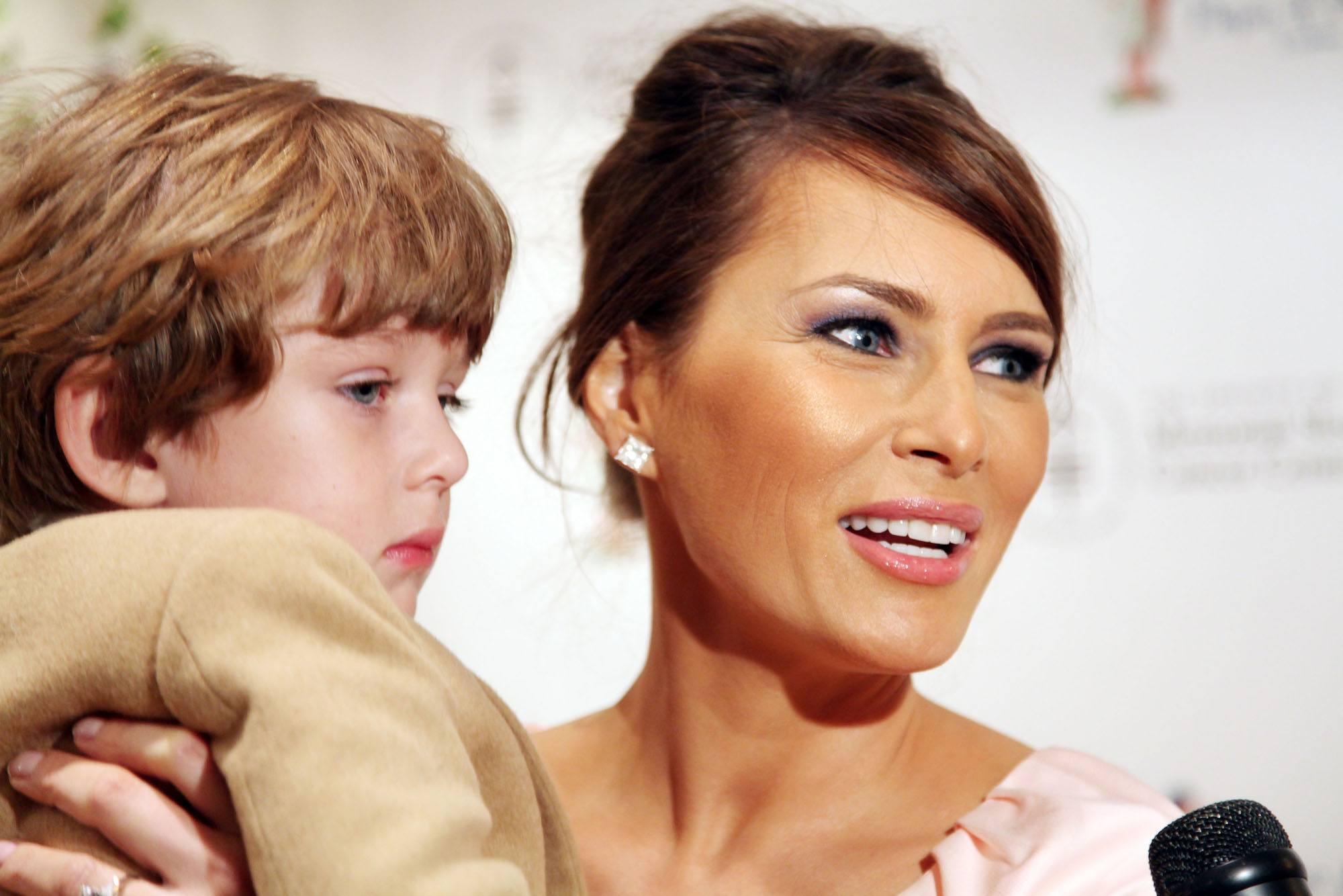 Barron Trump and Melania Trump attend the 18th annual Bunny Hop in 2009