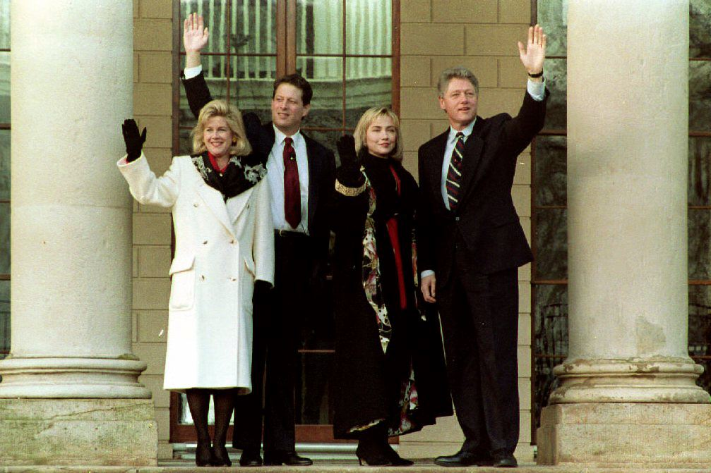 U.S. President-elect Bill Clinton and Hillary