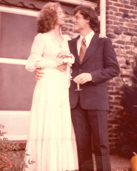 Hillary and Bill Clinton on their wedding day
