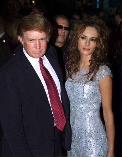 Donald Trump and Melania Knauss at the Aida opening in New York City, NY on March 23, 2000
