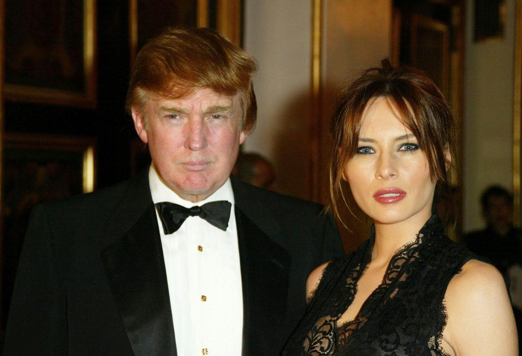 Donald Trump and Melania Knauss attend the 2002 USO of Metropolitan New York Gold Medal Awards