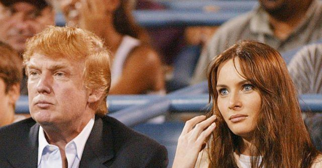 Donald Trump and Melania Knauss watch the US Open Tennis Tournament in 2002