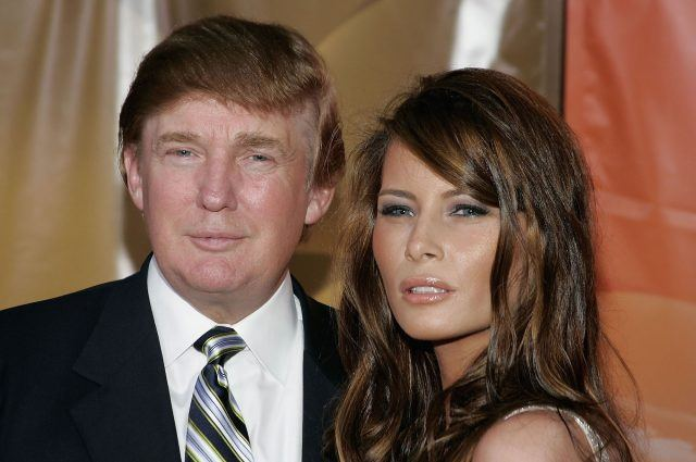 Donald Trump and girlfriend Melania Knauss arrive for the NBC TCA All - Star Party in 2004