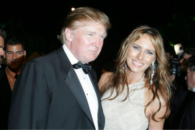 Donald Trump and wife Melania Trump arrive at the Vanity Fair Oscar Party in 2005