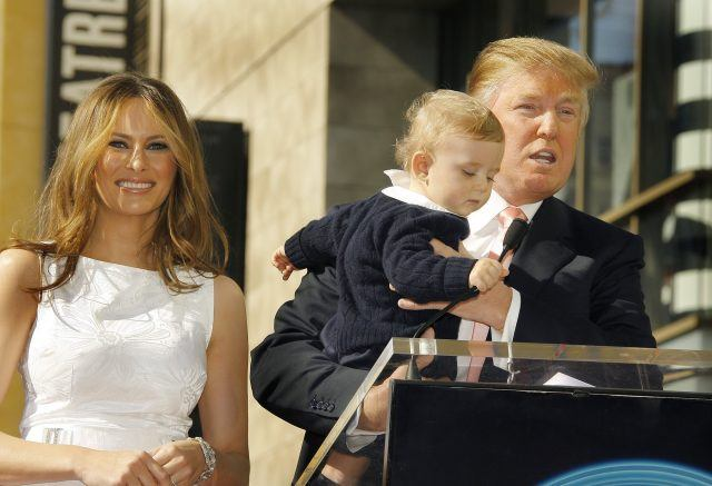 Donald Trump, wife Melania. and son Baron attend the ceremony honoring him with a star on the Hollywood Walk of Fame