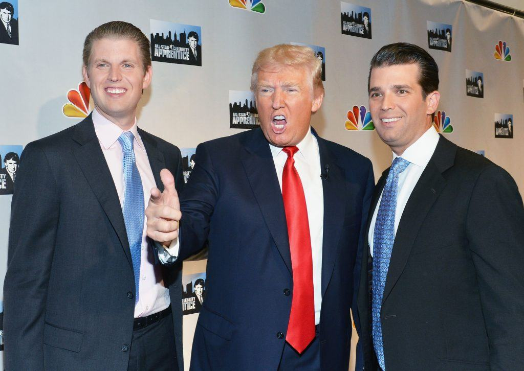(L-R) Eric F. Trump, Donald Trump, and Donald Trump Jr.