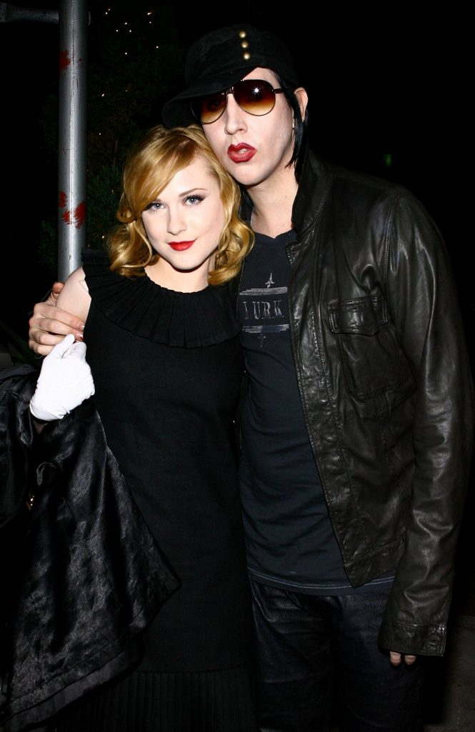 Evan Rachel Wood and Marilyn Manson arrive at an after-party in 2007.