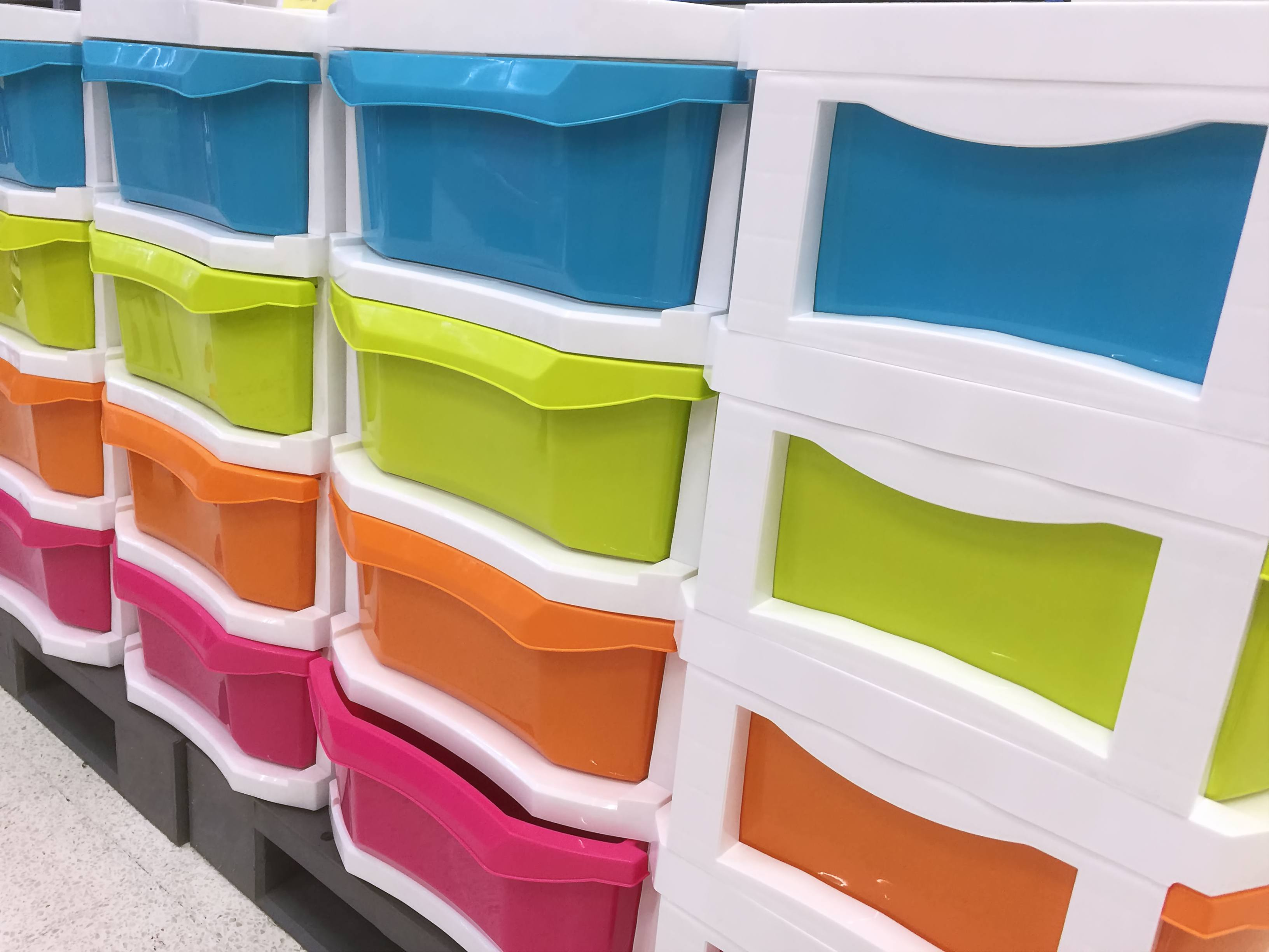 Plastic storage drawers